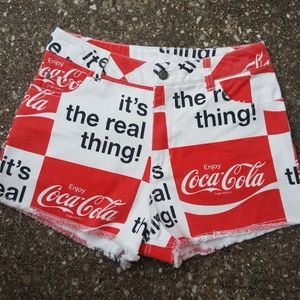 Coca Cola Its the Real Thing Fray Cut Off Shorts S